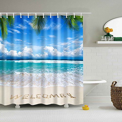 Hibbent Clear Ocean Water Blue Sky Shower Curtain, Nautical Ocean Artwork Wooden Dock Bridge On Seawater, Waterproof - 72 x 72 Inch ()