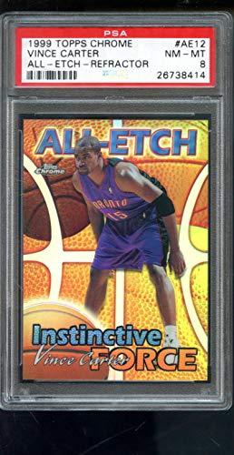 1999-00 All-Etch Instinctive Force Topps Chrome REFRACTOR Vince Carter Insert NBA NM-MT PSA 8 Graded Basketball Card