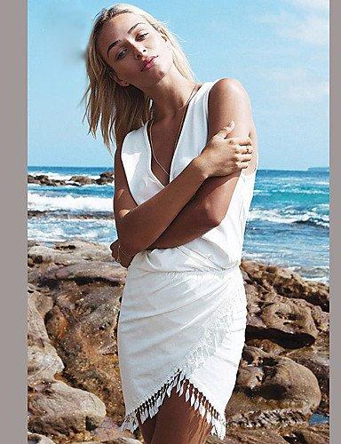PU&PU Robe Aux femmes Ample Décontracté , Couleur Pleine Col en V Mini Polyester , white-xl , white-xl