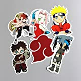 6Pcs Cartoon Waterproof Japan Anime Naruto Stickers For Laptop Car Trunk Skateboard Guitar Fridge Backpack Decal Toy Sticker