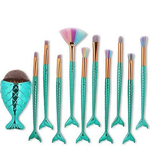 Kaputar NEW 11Pcs Eyeshadow Blending Makeup Brush Set Powder Foundation Eyeliner Brushes | Model MKPBRSH - 2073 | 11Pcs Blue