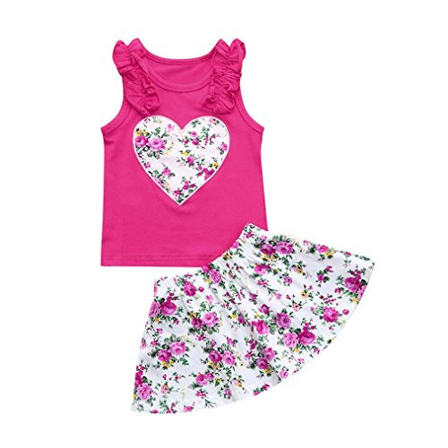 Dress Tank Infant Girls (Toddler Baby Girls Heart Print Ruffles Sundress Clothes Tank Tops+Floral Princess Skirt Sets (3T(2-3Years Old)))