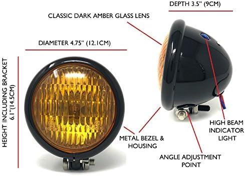 Monland Phare de Moto Vintage Custom Cafe Racer H4 Phare de 4 1//2 Pouces pour CB CG Bobber Chopper Objectif Noir Ambre