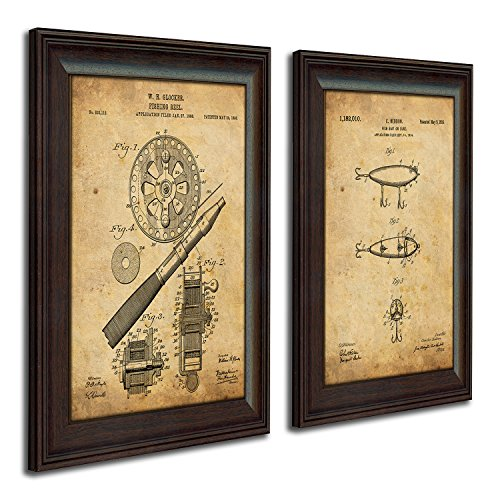 2 pc Framed Modern Patent Set - Fishing 14