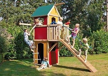Xxl Klettergerüst 2 4m Kletterturm Spielturm Mit Kletternetz Reckstange Leiter : Winnetoo spielturm kletterturm bunt gp amazon spielzeug