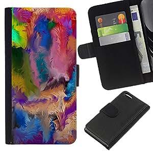 Apple iPhone 5C , la tarjeta de Crédito Slots PU Funda de cuero Monedero caso cubierta de piel ( Swirl Colorful Pattern Blue Oil Paint)