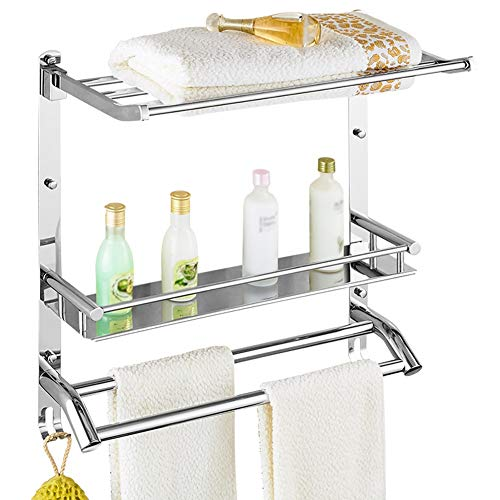 ZHANWEI Bathroom Shelf Shower Organiser Wall-Mounted Towel Rack 304 Stainless Steel 3 Tiers Foldable Punch Installation, 3 Sizes (Size : 50x24x56.5cm)