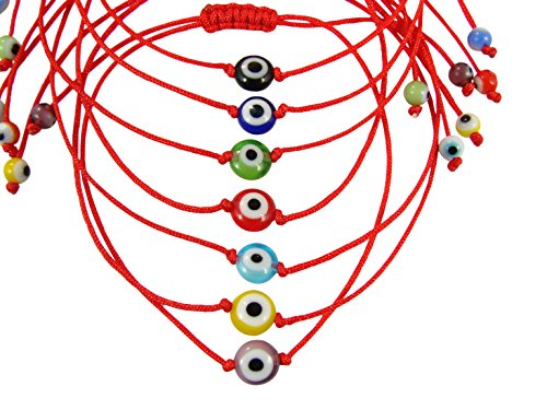 Evil Eye Red String Bracelet. Lucky turkish Eye Red Cord Bracelet. (Green eye)