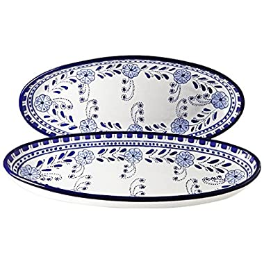 Le Souk Ceramique Large Oval Platters, Set of 2, Azoura Design