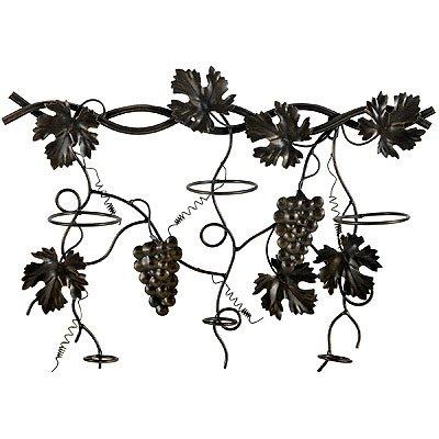 Metal Wall Wine Rack w/ Grapevine Design