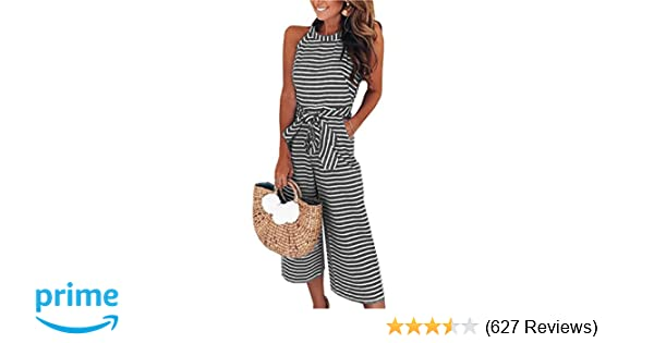 71771854c51d Amazon.com  PRETTYGARDEN 2019 Women s Striped Sleeveless Waist Belted Zipper  Back Wide Leg Loose Jumpsuit Romper with Pockets  Clothing