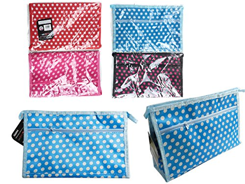 Cosmetic Makeup Bag Size: 11.5'' x 7.3'' x 3'' 4 Asst Colors , Case of 144 by DollarItemDirect