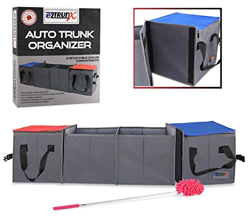 Auto Trunk Organizer | 2 Detachable Cooler Compartments | Versatile to Fit All cars | Free Bonus Vehicle Duster | 2017 Exclusive Design by EzTrunx TM (115x30x30cm)