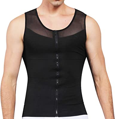 Bingrong Compression Shirts for Men Undershirts Slimming Body Shaper Waist Trainer Tank Top Vest with Zipper