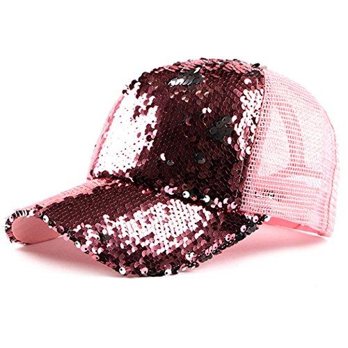 IZUS Reversible Magic-Sequin Hat Adjustable Baseball Cap Mesh(Pink)