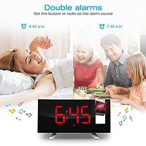 SKM Reloj Despertador de Proyección Digital Radio FM Reloj de Viaje Reloj de Cabecera Proyector Giratorio Alarma Doble Función de Despertador (Rojo) 7