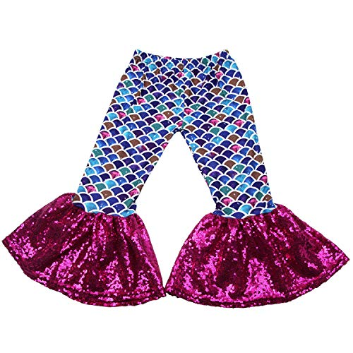 (Baby Girls Mermaid Leggings Bell Bottoms Pants Ruffle Sequin Flare Pants for Toddler 12-18M)