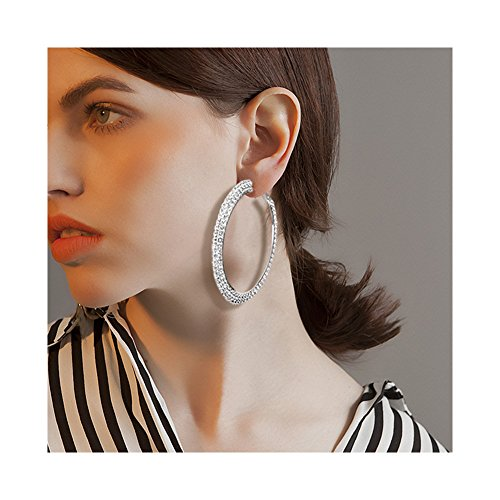 Geerier Dazzling Crystal Hoop Earrings 2 Row Rhinestone Bridal Hoop Earrings for Women -