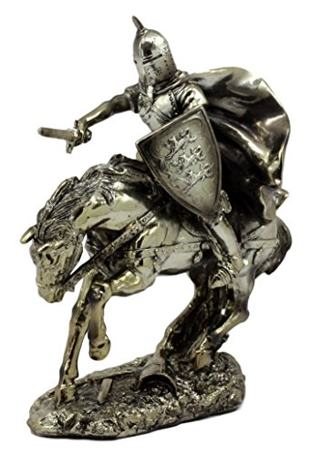 Ebros Gift Medieval Royal Arms of England Three Lions Charging Knight On Calvary Horse Figurine 8.5