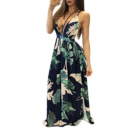 BURFLY Damen ärmelloses Langes Kleid, Frauen Sommer Floral Bedruckte Tiefem  V-Ausschnitt Sleeveless Maxi ee042cfbfb