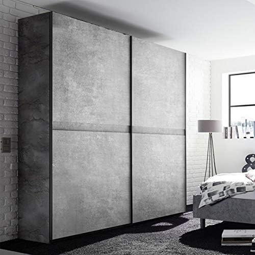 Noveomeuble - Armario de puertas correderas (200 cm), color gris ...