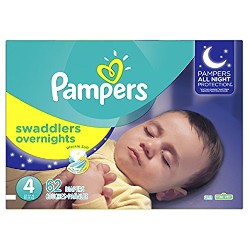 Pampers Swaddlers Overnights Disposable Diapers Size 4, 62 Count, SUPER