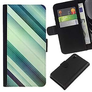 iBinBang / Flip Funda de Cuero Case Cover - Paralelo Pastel Teal blanco Limpio - Sony Xperia Z3 D6603 / D6633 / D6643 / D6653 / D6616