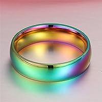 Nongkhai shop Hematite Titanium Steel Rainbow Colorful Rings Engagement Wedding Band Jewelry (10)