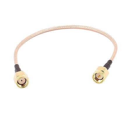 sourcingmap® Cable coaxial RG316 en forma de espiral 20cm RP- SMA -J hembra