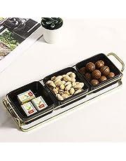 MyGift Modern Brass Plated Metal Handled Tray with 3 Black Ceramic Square Ramekin Bowls Serving Platter