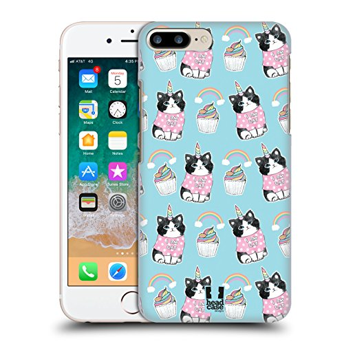 Case+Tempered_Glass, Ultra-Thin Protector Fits Apple iPhone 6 Plus/6S Plus/7 Plus/8 Plus Hard snap on Back Cover Pink Unicorn Whimsical Cat/Kitty/Kitten, Birthday Cup-Cake and Rainbow in Blue Sky]()