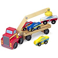 Melissa & Doug Magnetic Car Loader Wooden Toy Set With 4...