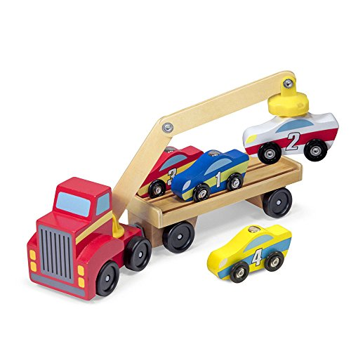 Melissa & Doug Magnetic Car Loader Wooden Toy Set With 4 Cars and 1 Semi-Trailer Truck ()