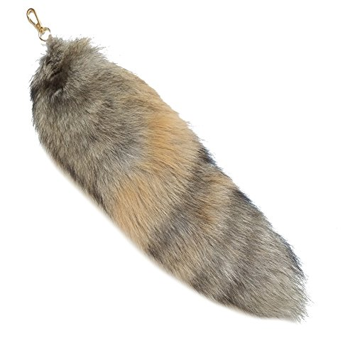 Valpeak 17'' Real Fox Tail Keychain Fluffy Fur Tail Cosplay Fox Costume for Kids (Golden)