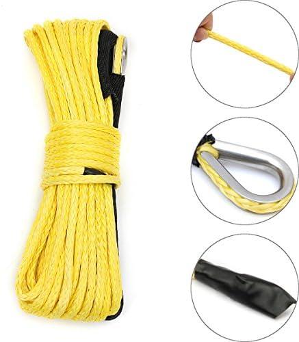 Queenwind 7000 ポンド50フィート黄色の合成ウインチロープケーブル牽引ロープ ATV ウインチライン1/4 インチ