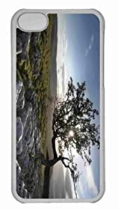 Customized iphone 5C PC Transparent Case - Tree Grown In Stones Personalized Cover