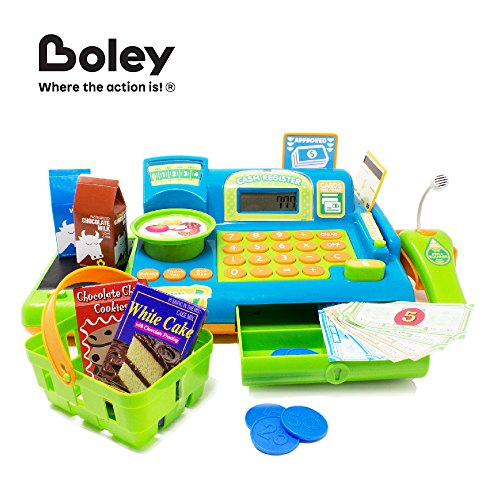 51yBg3eIiFL - Boley Kids Toy Cash Register - Pretend Play Educational Toy Cash Register With Electronic Sounds, Play Money, Grocery Toy and More!