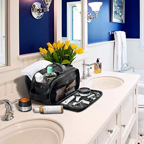 Elviros Toiletry Bag for Men Large Travel Shaving Dopp Kit Water-resistant Bathroom Toiletries Organizer PU Leather Cosmetic Bags