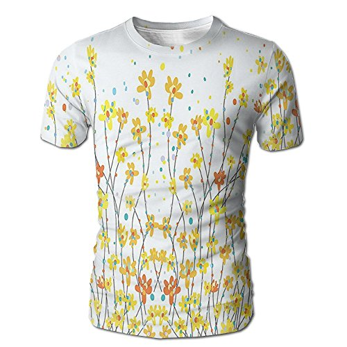 Kooiico Mens Daffodil Floral Banner With Daffodils Botanical Blooming Spring Gardening Flourishing Design Fashion T-shirts White L