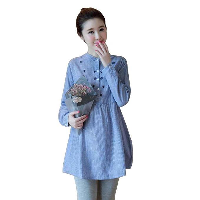 Mengonee Mujeres Bordado de Flores Maternidad Camiseta Blusa Tops Ropa para Embarazadas Embarazo Suave Top Clothing: Amazon.es: Ropa y accesorios