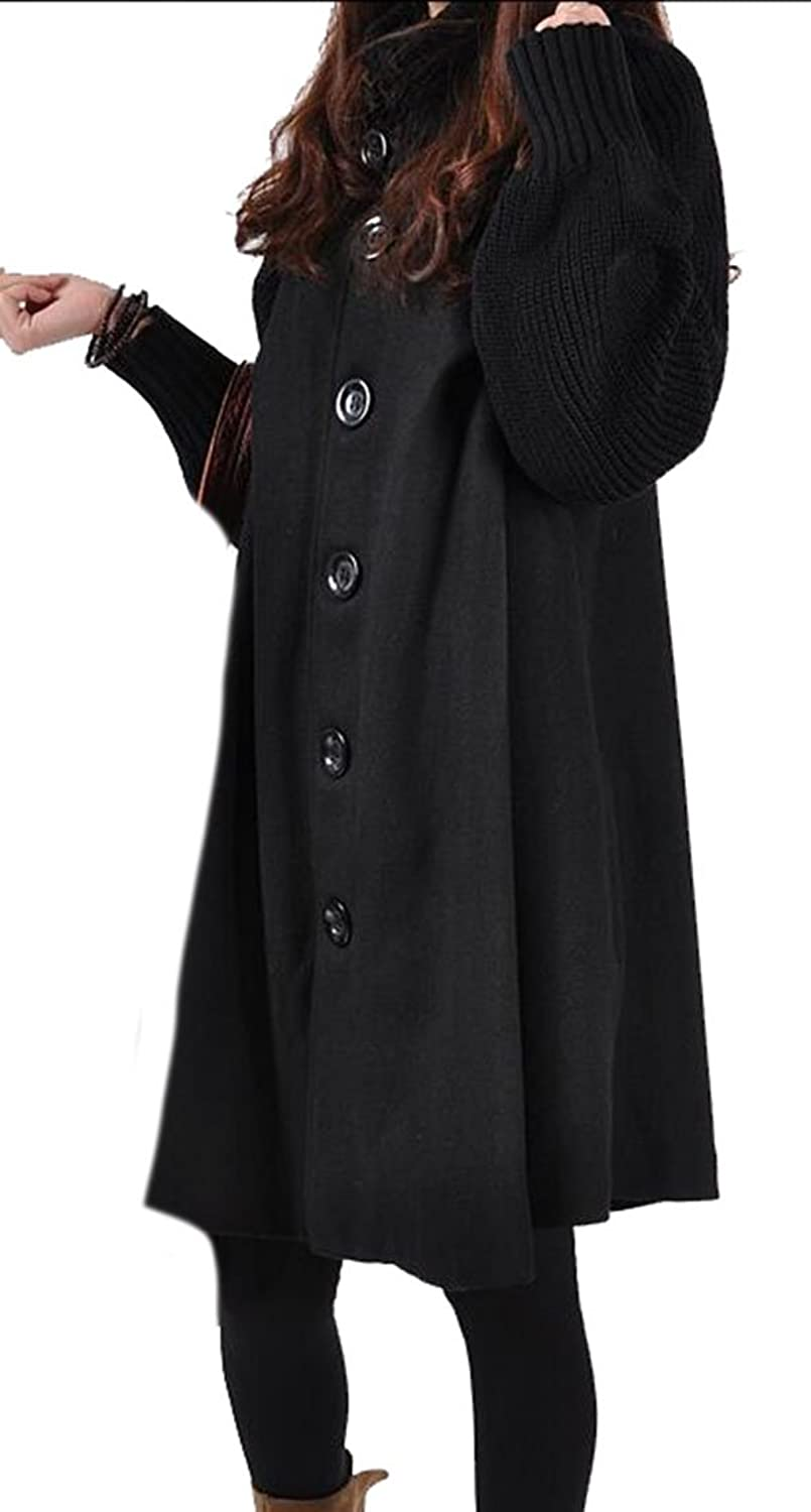 ARRIVE GUIDE Womens Casual Loose Button Trench Cloak Woolen Pea Overcoat