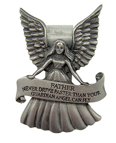 Fine Pewter Guardian Angel Father Banner Car Auto Visor Clip, 2 1/4 Inch