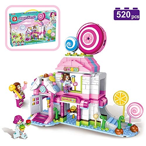 MONING.C Lollipop House Building Blocks Set Toys for Girls 520 Pieces Pink Dream House Sweets Shop Construction Bricks Education Assembly Toy Christmas Birthday Gift Kids Age 6 and ()