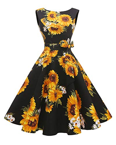 Hanpceirs Women's Boatneck Sleeveless Swing Vintage 1950s Cocktail Dress Sunflower M