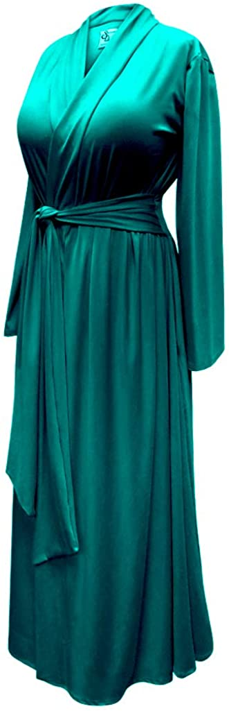 Vintage Nightgowns, Pajamas, Baby Dolls, Robes Plus Size Teal Blue Retro Robe in Cotton Rayon and Brushed Jersey with Attached Belt $69.91 AT vintagedancer.com
