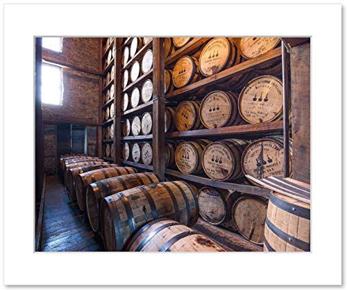 - Whiskey Barrels Wall Art, Woodford Reserve Bourbon Distillery Rickhouse Decor, 8x10 Matted Photo Print
