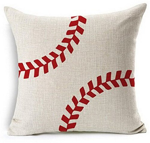 Baseball Design Cotton Linen Beige Throw Pillow Case Cushion Cover Home Office Decorative, Square 18 X 18 Inches (For Living Room, - Baseball Inch 18