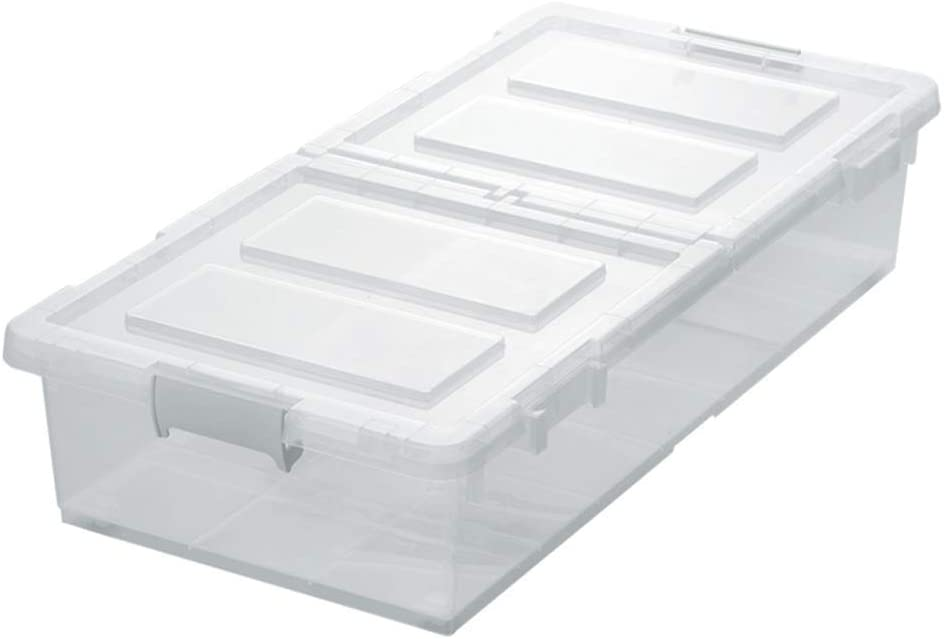 DaFei Caja de Almacenamiento con Tapa, pequeña Transparente, Ligera, Robusta, apilable, Caja de plástico hermética para Debajo de la Cama: Amazon.es: Juguetes y juegos