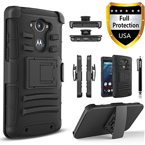Droid Turbo Case, Circlemalls Dual Layers [Combo Holster] and Built-in Kickstand Bundled with Dual Layers Protection Hybrid Shockproof Phone Case and Stylus Pen for Motorola Droid Turbo XT1254-Black
