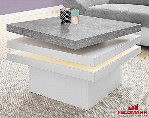 Couchtisch 485691 Wohnzimmertisch Weiß Steinfarben Mit Led